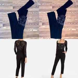 EXPRESS Black lace bodice long sleeve jumpsuit